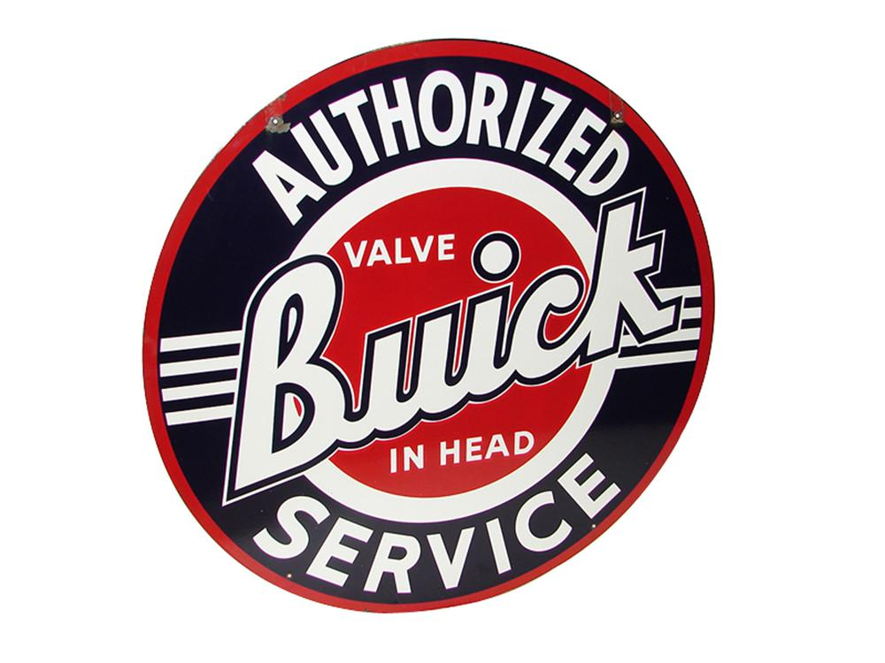 Impressive 1950s Buick Authorized Service double-sided porcelain dealership sign. - Front 3/4 - 97313