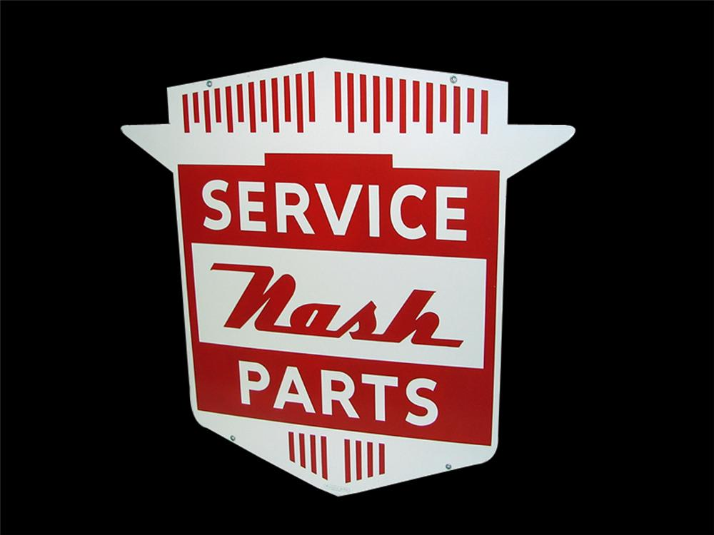 Superlative N.O.S. 1950s Nash Service-Parts double-sided crest shaped dealership sign. - Front 3/4 - 97314