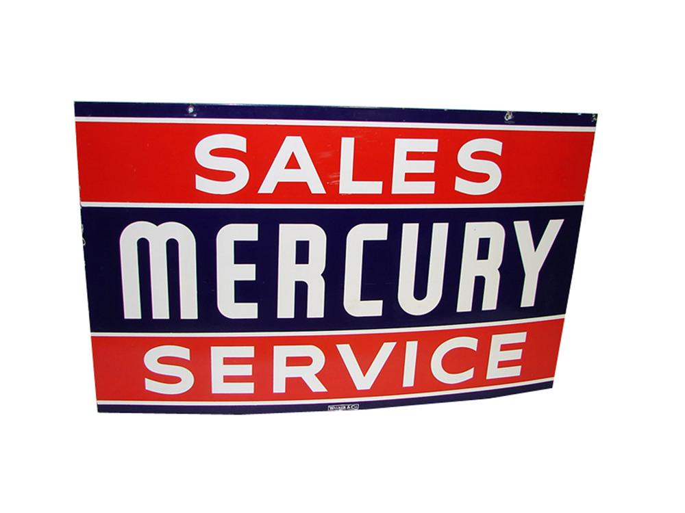 Superlative Mercury Sales and Service double-sided porcelain dealership sign. - Front 3/4 - 97317