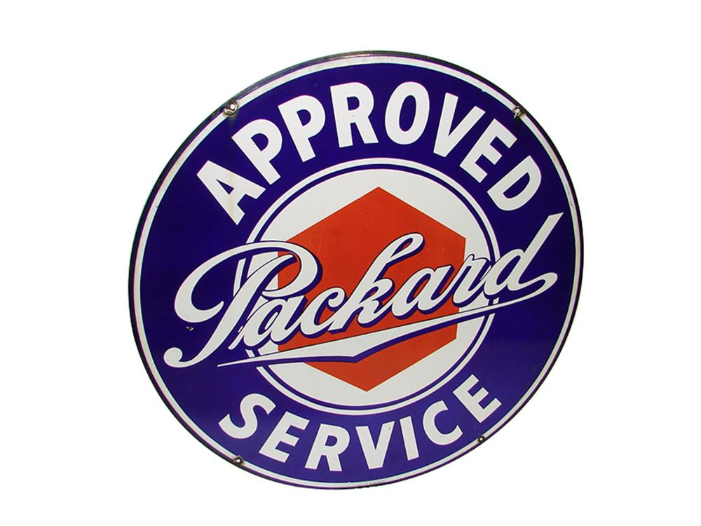 Nearly impossible to find 1930s-40s Packard Approved Service double-sided porcelain dealership sign. - Front 3/4 - 97320