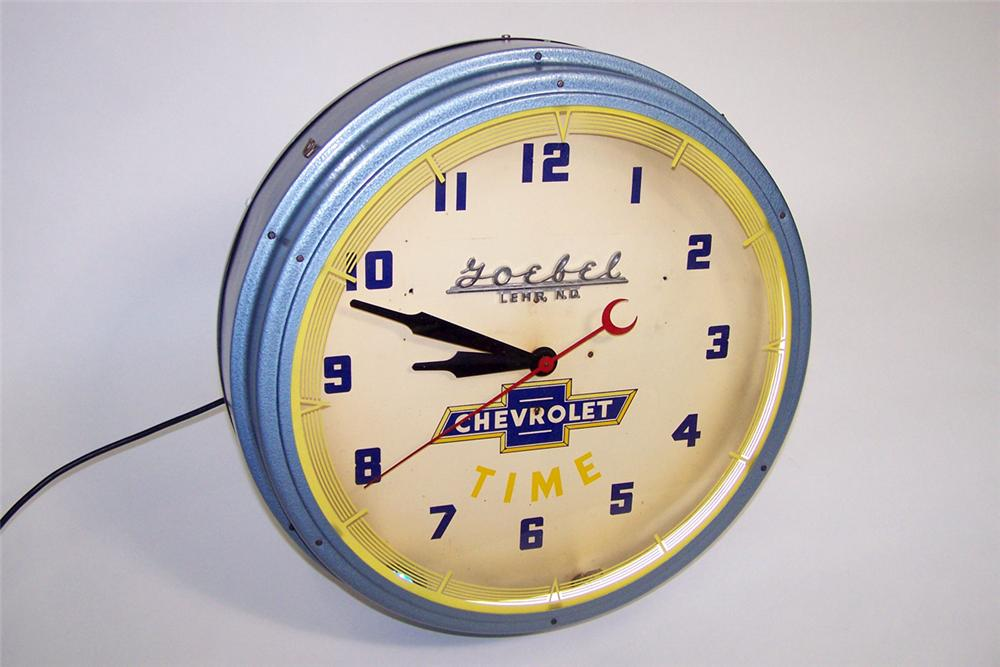 All original 1940s Chevrolet Time dealer showroom neon clock. - Front 3/4 - 97321