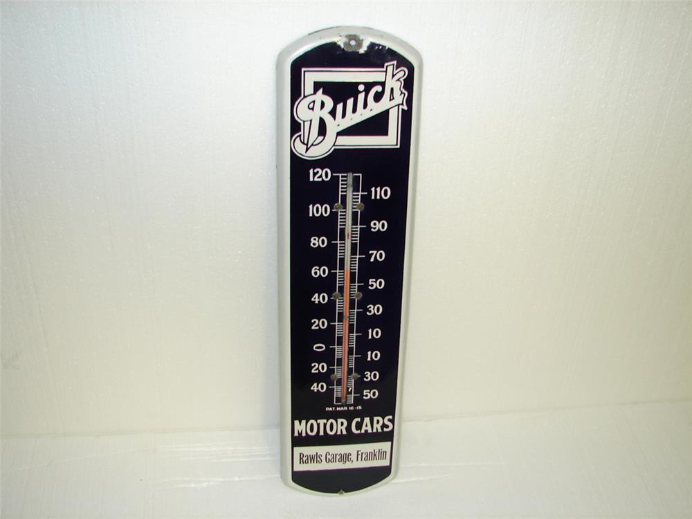 Uncommon 1920s Buick Automobiles single-sided vertical porcelain dealership thermometer. - Front 3/4 - 97323