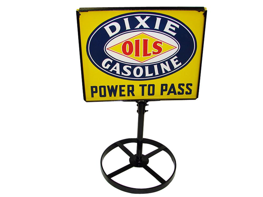 "Extremely hard to find 1930s Dixie Oils-Gasoline ""Power to Pass"" double-sided porcelain filling station curb sign. - Front 3/4 - 97324"