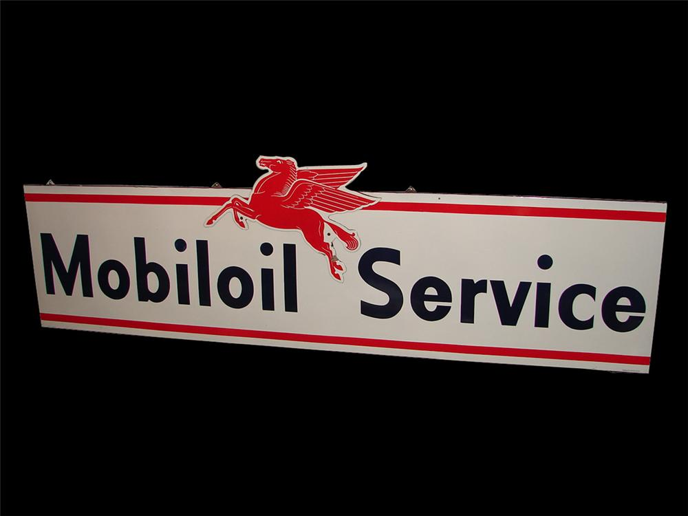Magnificent and Rare 1955 Mobil Service single-sided porcelain station sign with die-cut Pegasus attached. - Front 3/4 - 97338