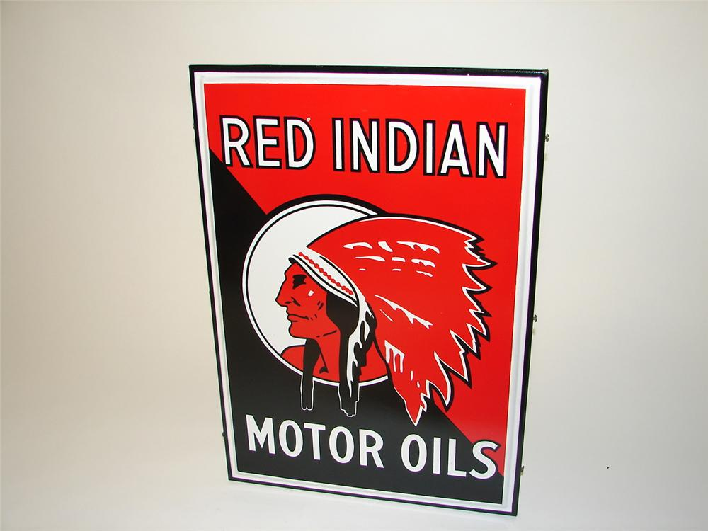 Impressive 1930s Red Indian Motor Oil single-sided porcelain service station sign. - Front 3/4 - 97339