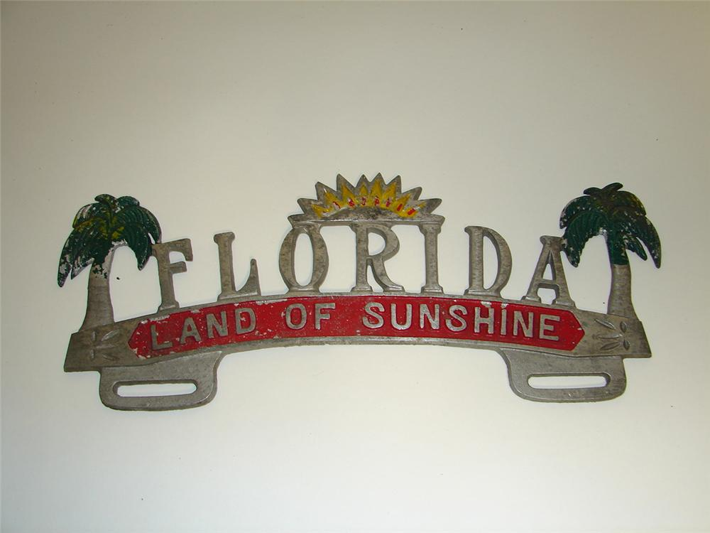 1930s Florida Land of Sunshine souvenir license plate attachment sign. - Front 3/4 - 97342