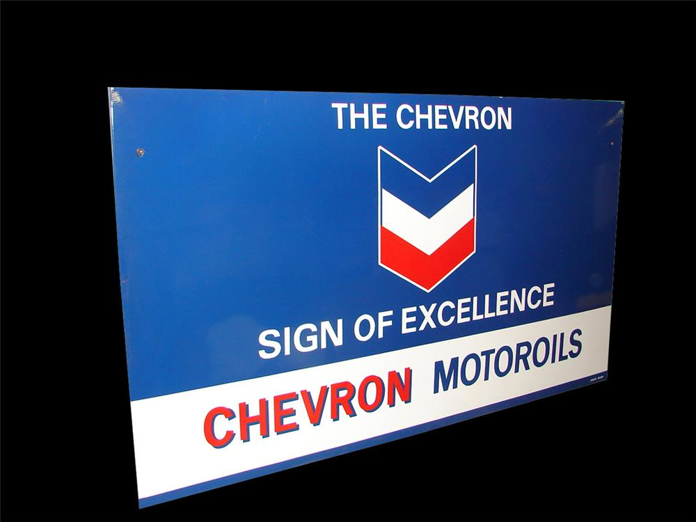 """Very clean large 1950s Chevron Motor Oils """"Sign of Excellence"""" single-sided porcelain service station sign. - Front 3/4 - 97344"""