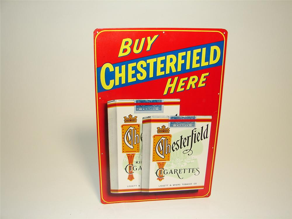 N.O.S. 1950s Chesterfield Cigarettes single-sided embossed tin general store sign. - Front 3/4 - 97346
