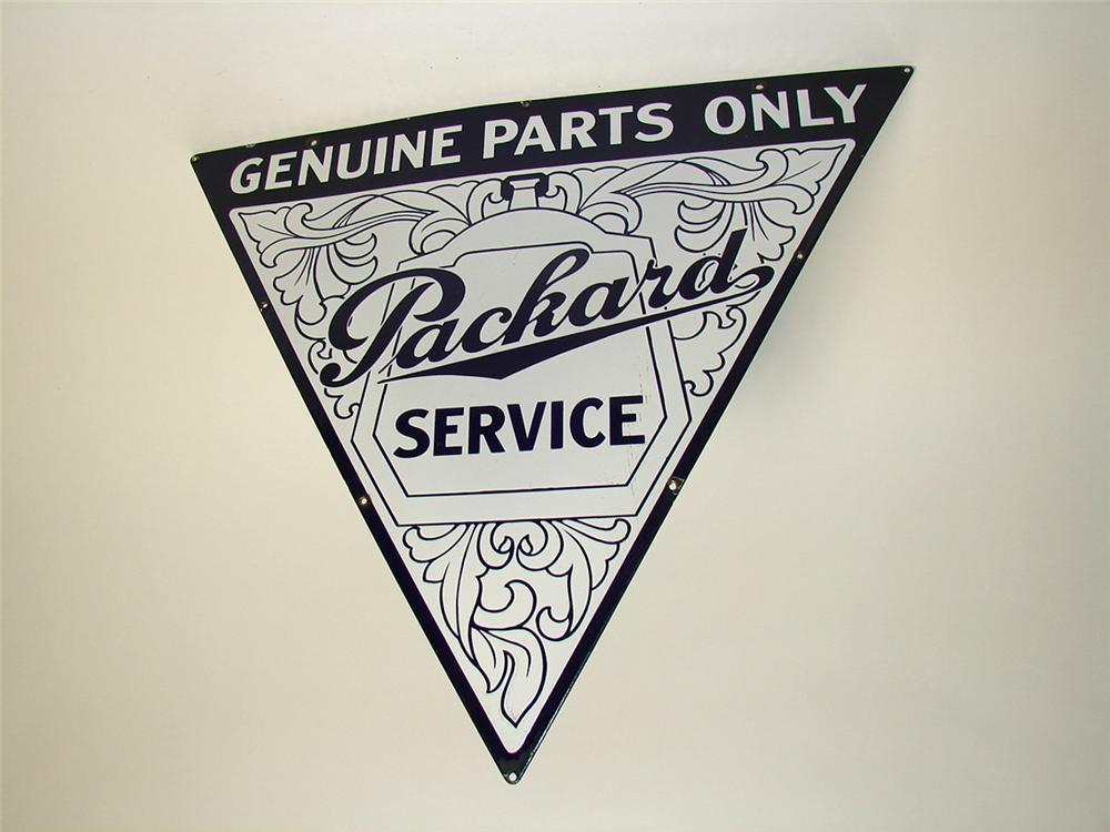 Rarest of the rare 1920s-30s Packard Service - Genuine Parts Only single-sided porcelain garage sign with scroll and radiato... - Front 3/4 - 97348