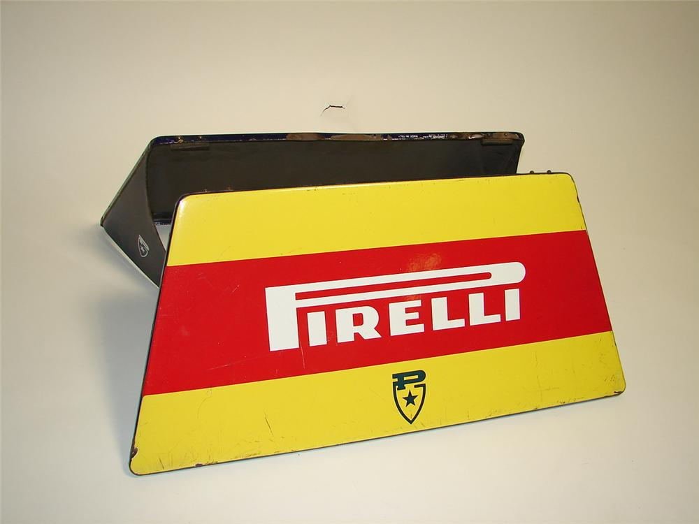 Impressive early 1960s Pirelli Tires automotive garage porcelain tire display sign. - Front 3/4 - 97349