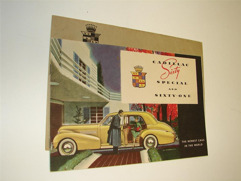 Hard to find Cadillac for 1939 N.O.S. 12 page color sales brochure still in the original shipping sleeve. - Front 3/4 - 97350