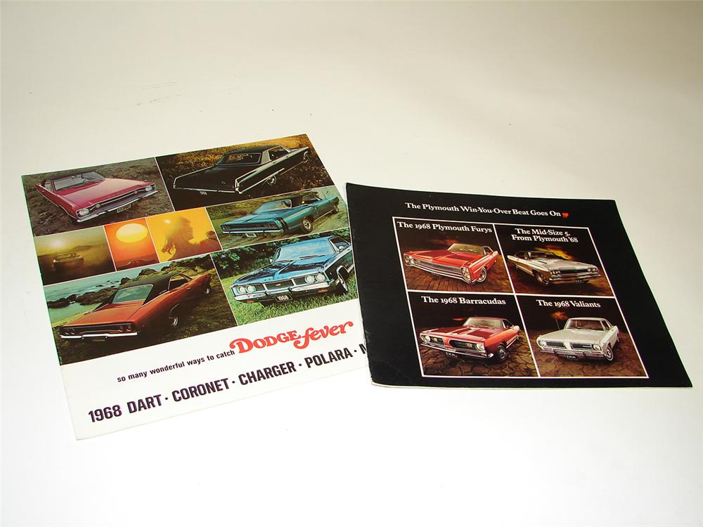 Lot of two 1968 color showroom sales brochures (16 page Plymouth and 20 page Dodge Fever) Never used! - Front 3/4 - 97352