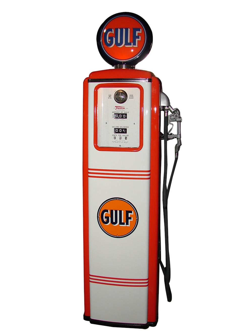 Perfectly restored 1940s-50s Gulf Oil Tokheim model #39 service station gas pump. - Front 3/4 - 97357