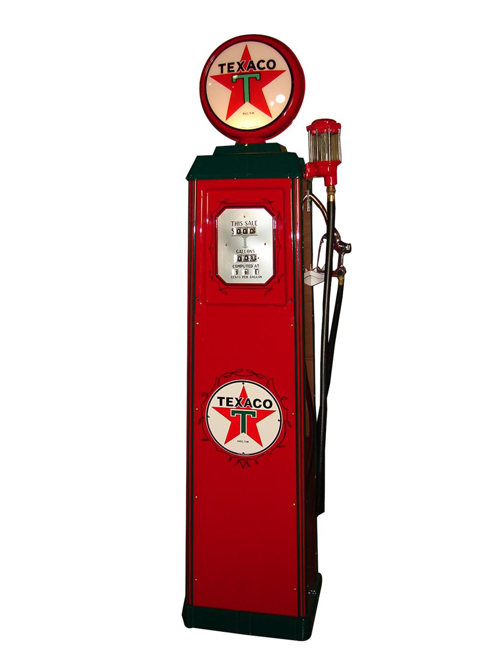 Very fancy 1935 Texaco Oil Wayne model #40 restored service station gas pump with glass filter, brass nozzle, and more. - Front 3/4 - 97367
