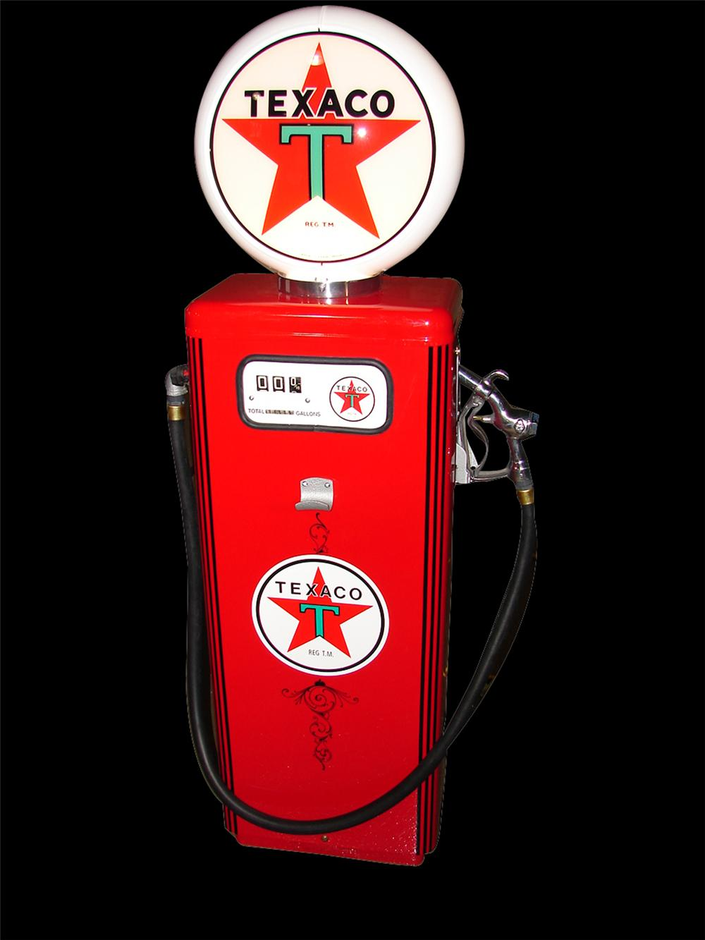 Nifty 1960s Texaco Low Boy restored service station gas pump. - Front 3/4 - 97371