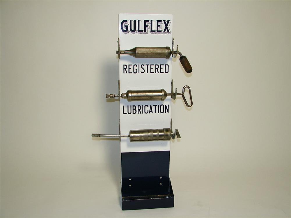 "Impressive 1930s-40s Gulf Oil ""Gulflex"" porcelain service station grease gun display rack. - Front 3/4 - 97457"