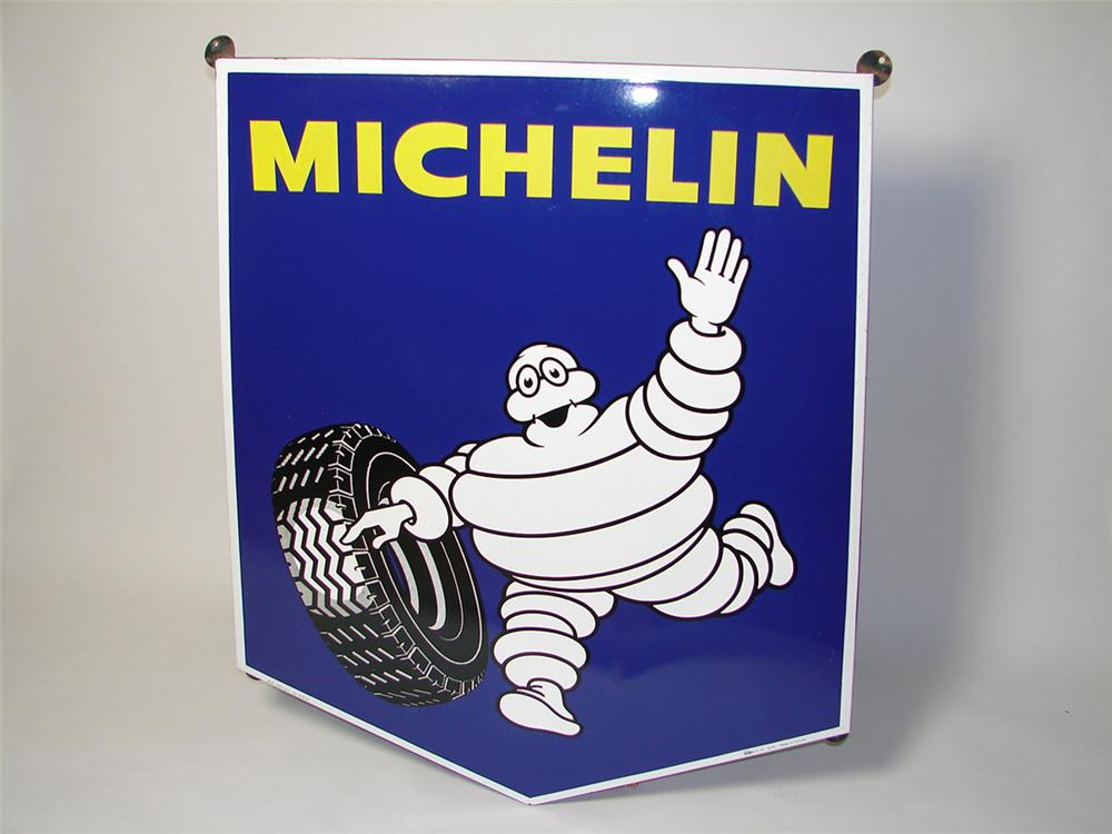 Immaculate N.O.S. Michelin Tires single-sided porcelain dealership sign with Bibedum graphic. - Front 3/4 - 97466