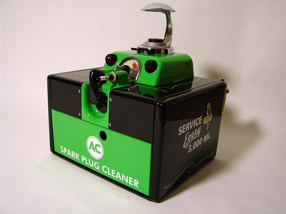 Fabulous 1950s Polly Gasoline AC Spark Plugs restored service department plug cleaner/servicer. - Front 3/4 - 97468
