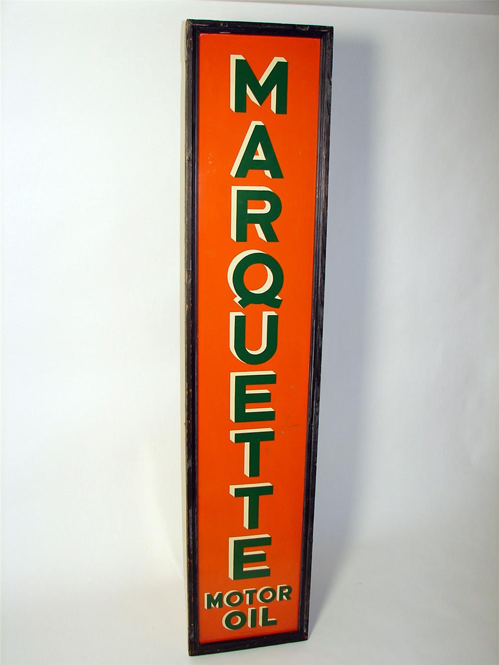Hard to find 1930 Marquette Motor Oil tin painted wood framed vertical garage sign. - Front 3/4 - 97474