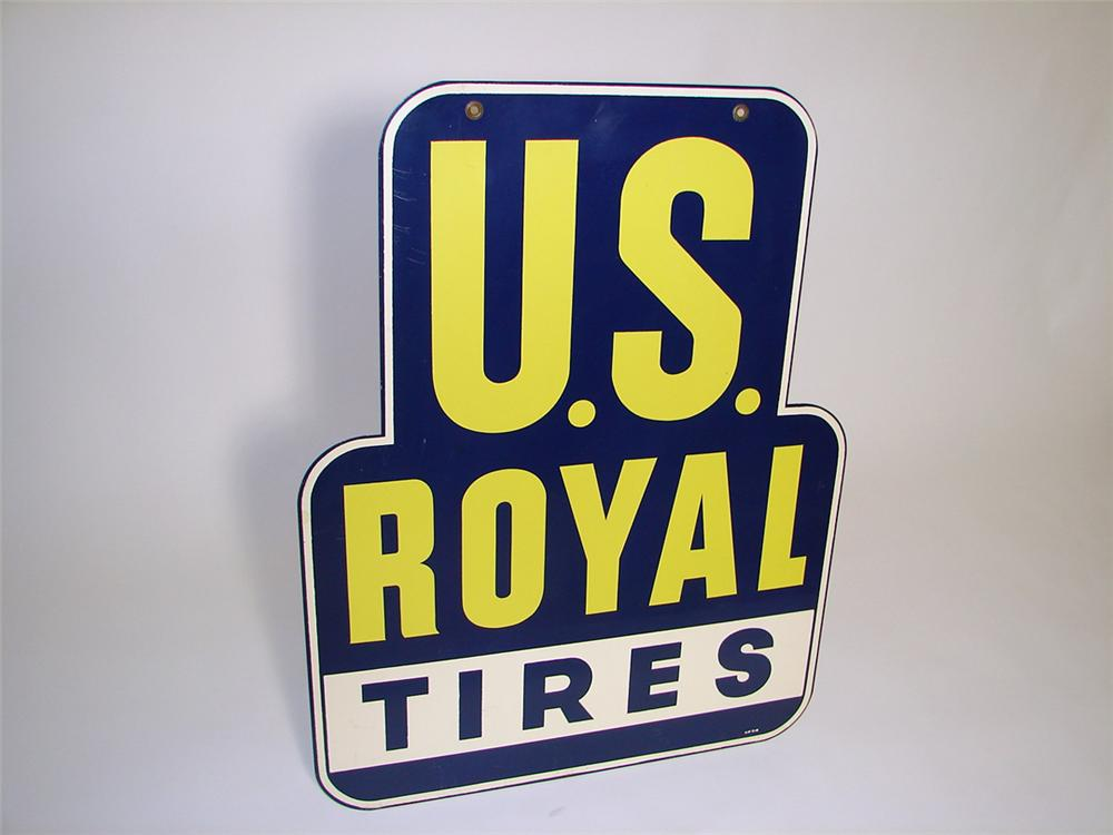 Out of the ordinary N.OS. 1948 U.S. Royal Tires double-sided tin painted garage sign. - Front 3/4 - 97475
