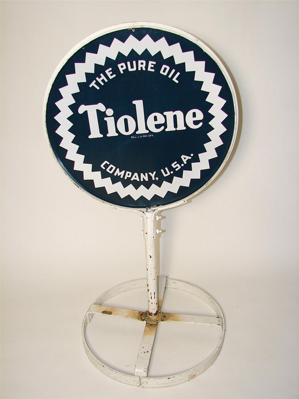 Extremely hard to find 1930s Pure Tiolene Motor Oil double-sided porcelain curb sign in original stand. - Front 3/4 - 97476
