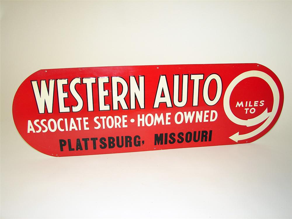 N.O.S. 1930s Western Auto Parts Stores single-sided tin embossed sign. Pulled out of the original shipping paper. - Front 3/4 - 97477