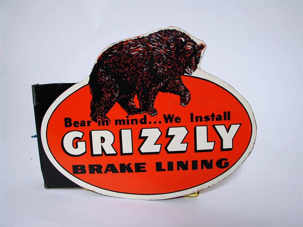 Very hard to find 1940s Grizzly Brake Linings tin painted garage flange with outstanding Grizzly Bear graphics. - Front 3/4 - 97482