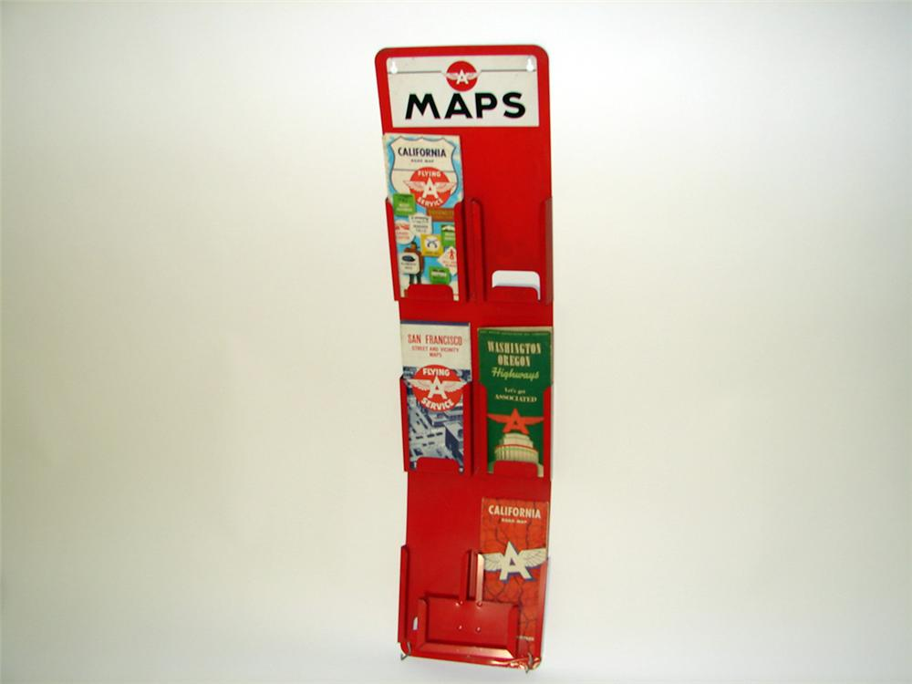 Hard to find 1940s-50s Flying A service station metal road map display rack filled with original period maps. - Front 3/4 - 97485