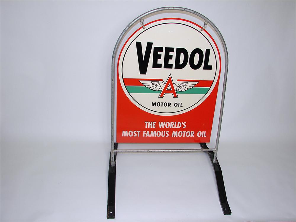 Superlative N.O.S. 1940s Veedol Motor Oil tin painted curb sign still in the original frame. - Front 3/4 - 97487