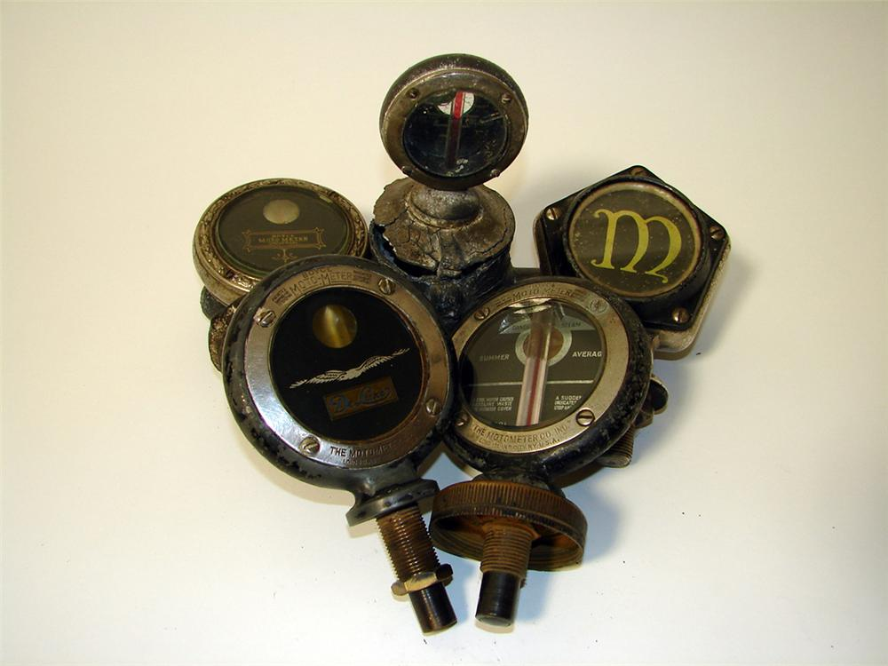 Lot of five circa 1914-1915 Boyce Moto-Meters - radiator hood mascots. - Front 3/4 - 97495