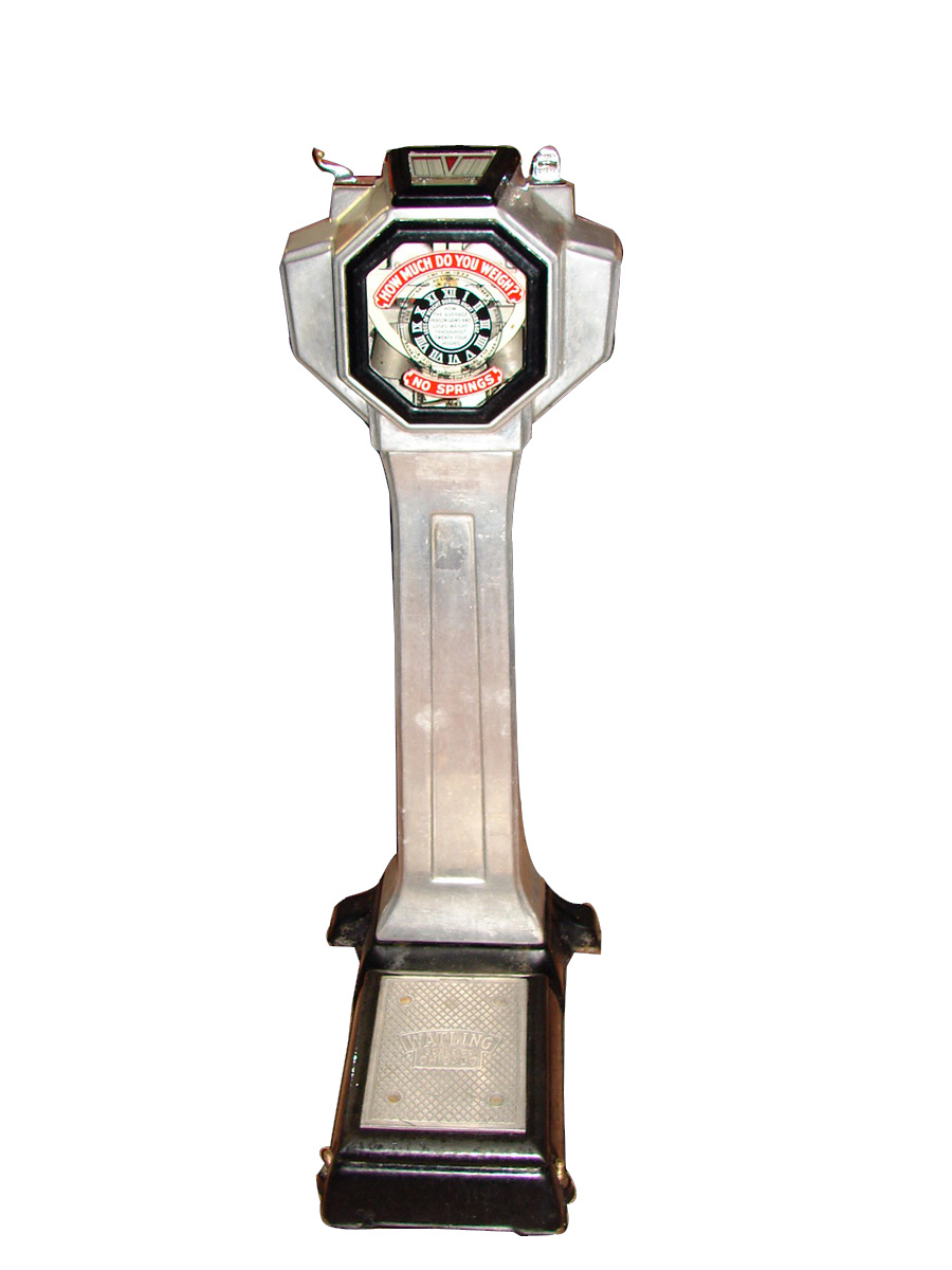 Choice 1930s-40s Watling coin-operated penny scale made of cast aluminum. - Front 3/4 - 97499