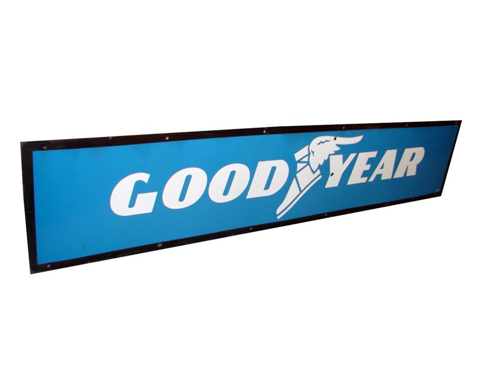 Sharp Goodyear Tires single-sided porcelain automotive garage sign with winged foot logo. - Front 3/4 - 97578