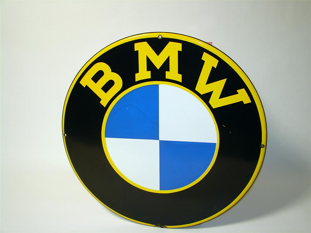 Nearly impossible to find 1950s BMW single-sided porcelain dealership sign (flat version). - Front 3/4 - 97583