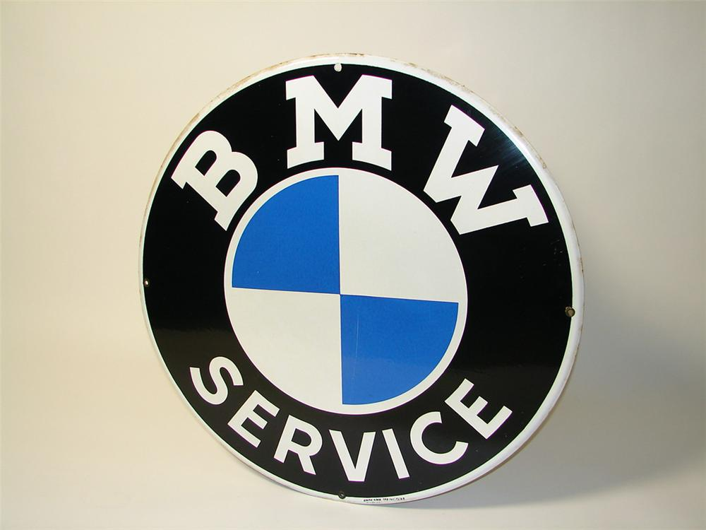Extremely rare 1963 BMW Service single-sided porcelain dealership sign (flat version). - Front 3/4 - 97584