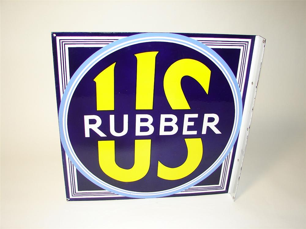 Superlative N.O.S. 1930s U.S. Rubber Tires double-sided porcelain garage flange. - Front 3/4 - 97585