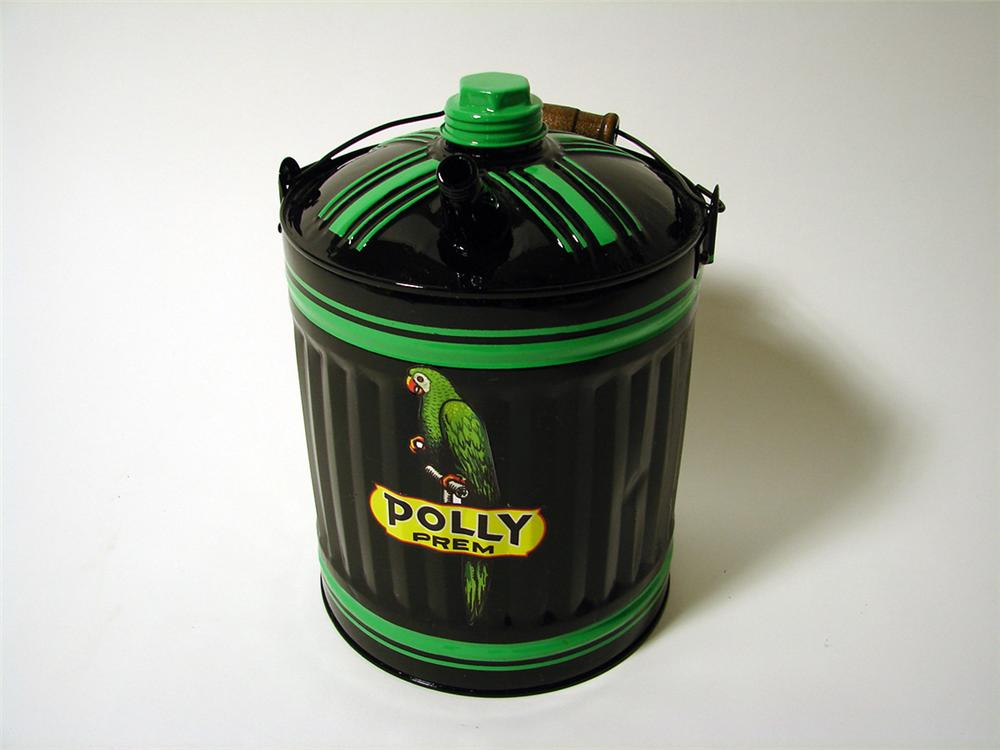 Eye catching 1930s Polly Gasoline restored service department oil/gas can. - Front 3/4 - 97590