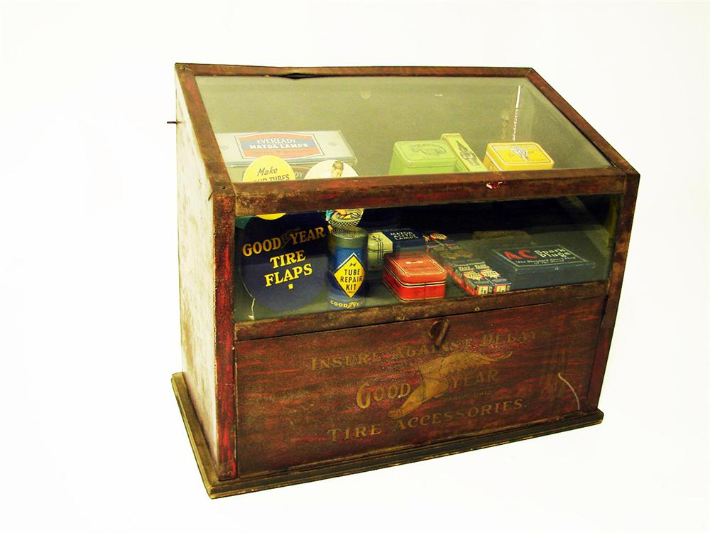 Museum quality 1920s-30s Goodyear service garage counter-top cabinet filled with original tins - Front 3/4 - 97593