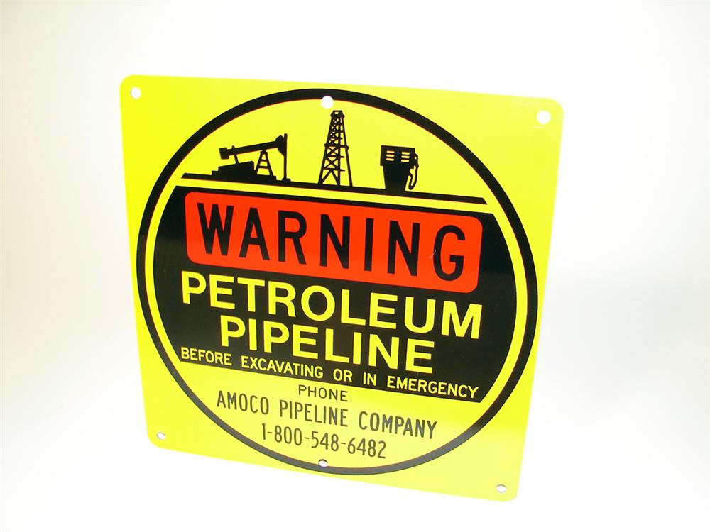 "N.O.S. Amoco Petroleum Pipeline ""Warning"" single-sided tin sign. - Front 3/4 - 97599"