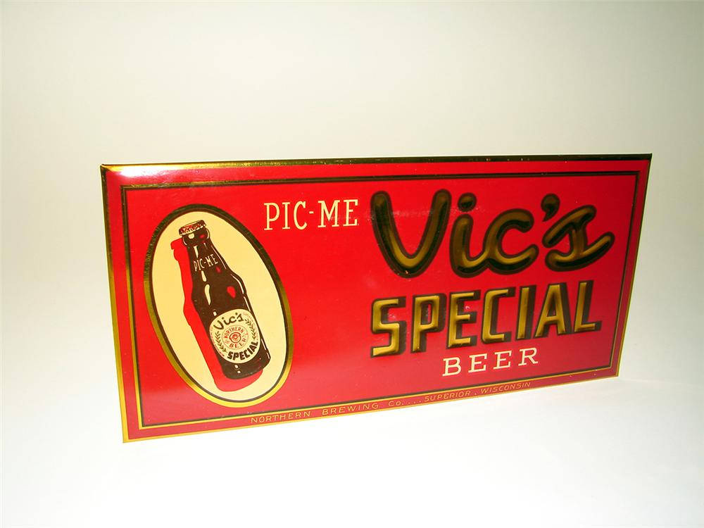 N.O.S. 1940s Vics Special Beer single-sided celluloid tavern sign with bottle graphic. - Front 3/4 - 97601