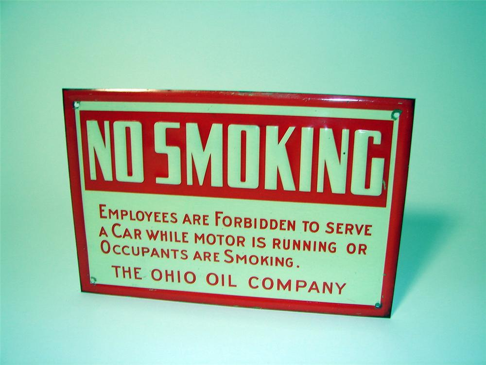 "N.O.S. 1930s Ohio Oil Company ""No Smoking"" fuel island single-sided tin sign. - Front 3/4 - 97602"
