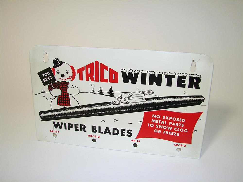 N.O.S. 1950s Trico Winter Wiper Blades service station tin sign with snowman graphic. - Front 3/4 - 97603