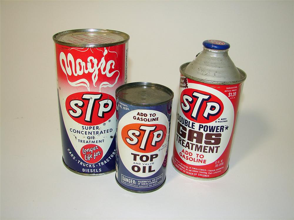 Lot of three N.O.S. 1950s-60s STP Oil Gas Treatment tins. - Front 3/4 - 97604