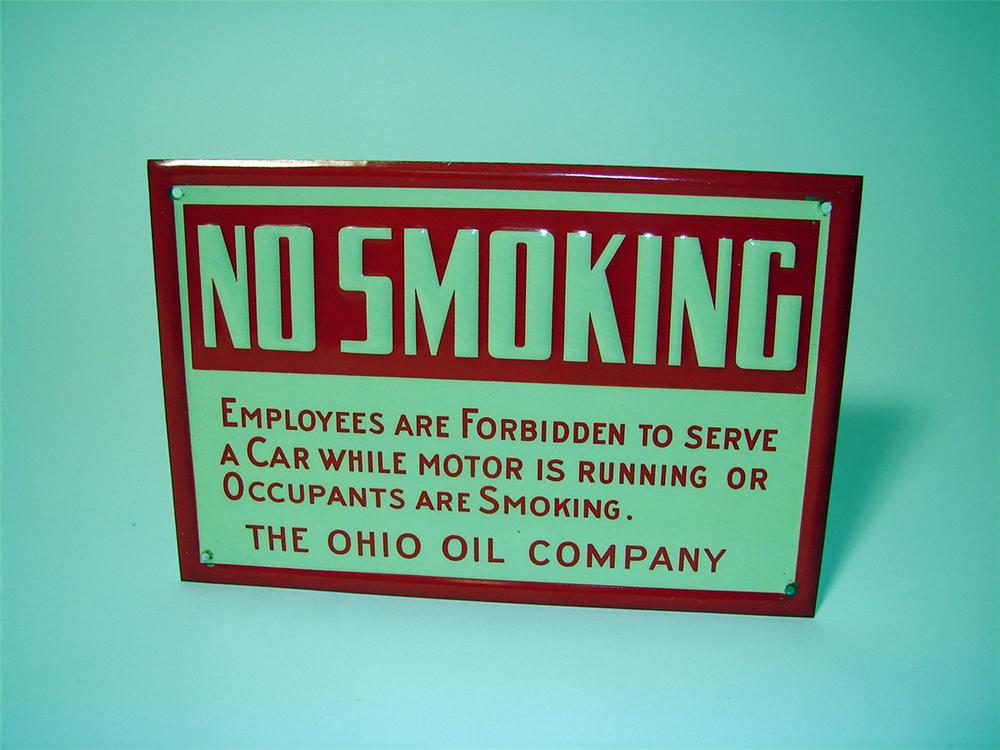 "N.O.S. 1930s Ohio Oil Company ""No Smoking"" fuel island single-sided tin sign. - Front 3/4 - 97606"
