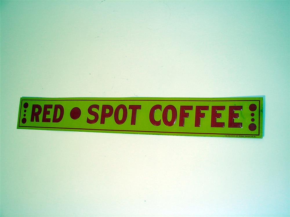 N.OS. 1930s Red Spot Coffee single-sided tin painted general store sign. - Front 3/4 - 97609