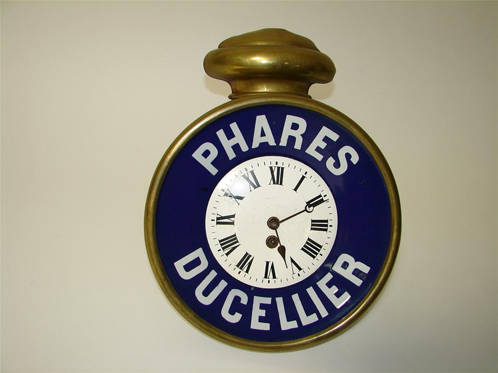 Rare Turn of the century Phares Ducellier porcelain/brass automotive headlight shaped clock - Front 3/4 - 97610
