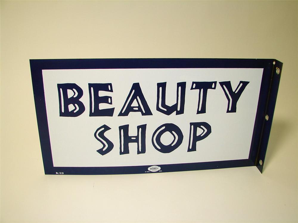 N.O.S. 1950s Beauty Shop porcelain flange sign. - Front 3/4 - 97614