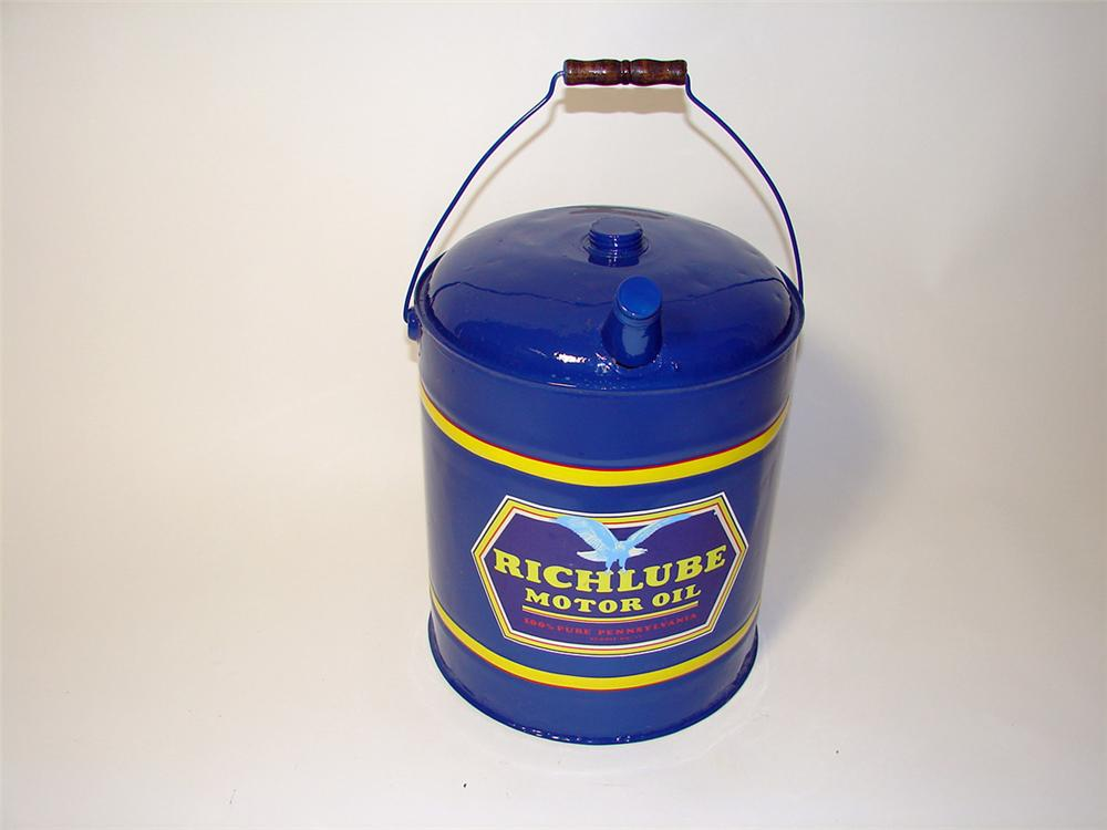 Richfield Richlube Motor Oil restored five gallon gas/oil can. - Front 3/4 - 97617