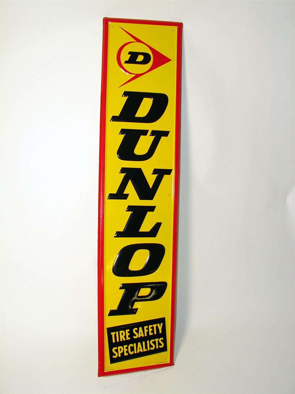 """N.O.S. Dunlop Tires """"The Tire Specialist"""" vertical tin embossed garage sign. - Front 3/4 - 97618"""