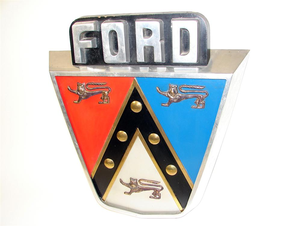 Magnificent1950s Ford Anniversary cast aluminum showroom sales sign. - Front 3/4 - 97619