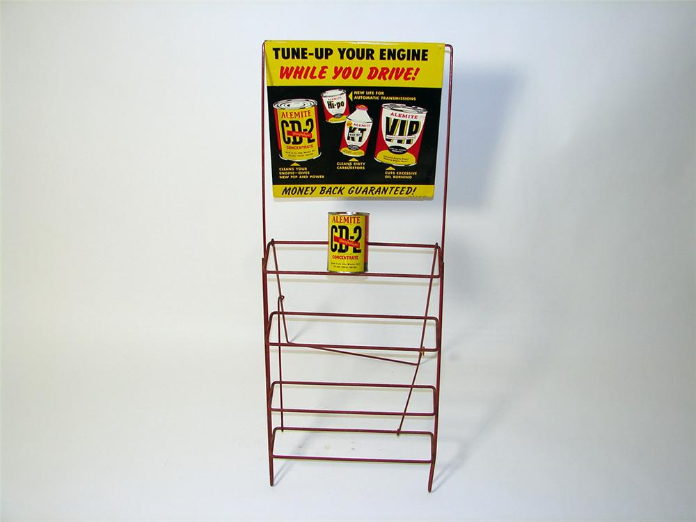 1950s-60s Alemite Engine Tune-Up service garage display rack with an original can included. - Front 3/4 - 97620